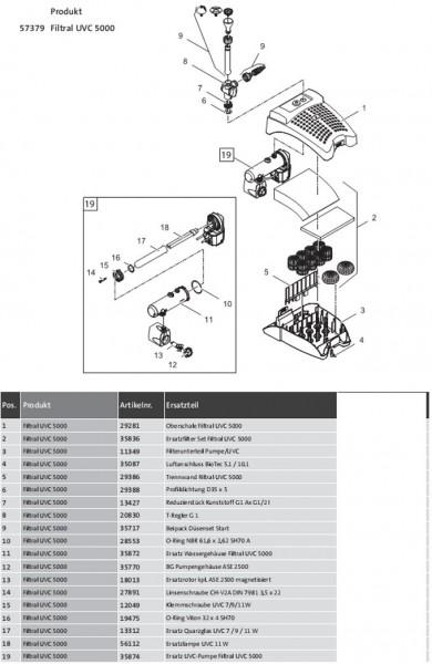 Oase Filtral  5000 Version B ab 01.2007 - Ersatzteile