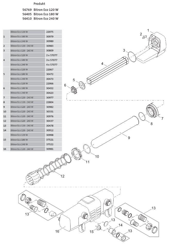 Oase Bitron Eco 120 W / 180 W / 240 W - ( 56769 / 56405 / 56410 ) Ersatzteile